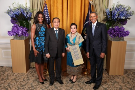H.E. Mr. Choummaly Sayasone, President of the Lao PDR, and his wife Madame Keosaychay Sayasone met with President and Mrs. Obama in New York City.