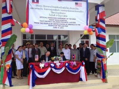 Ambassador Daniel A. Clune at the inauguration of a United States-funded new hospital facility in Huai Ngua, Salavan Province